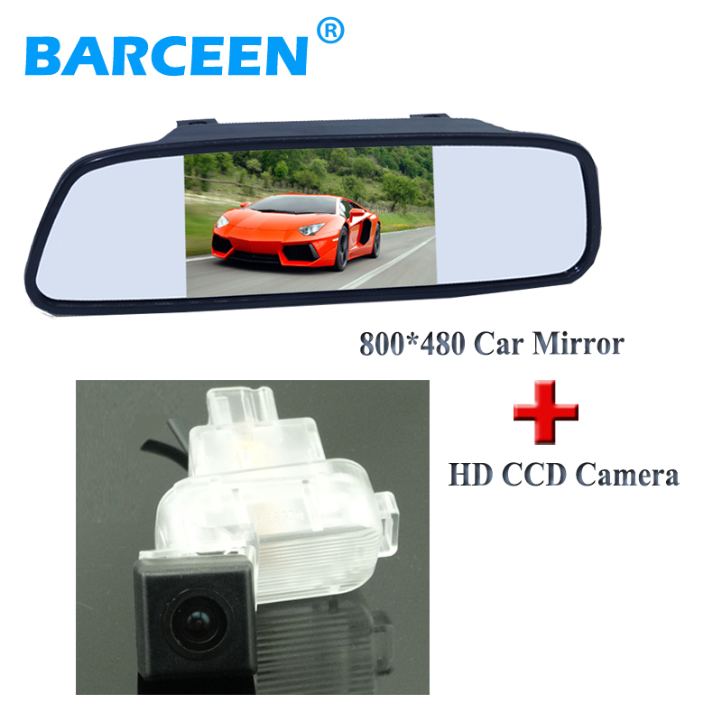 5 car display mirror monitor sunvisor plscement+car parking camra plastic shell glass le ...