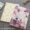"""Luxury printed coloful flower case For ipad Pro 9.7 inch Tablet Transparent Covers Flip Stand PU Leather Case For ipad Pro 9.7"""""""