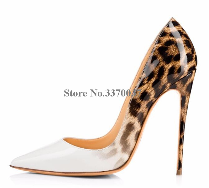 New Design Women Classical Style Pointed Toe Leopard Gradient Stiletto Heel Pumps 12cm Patchwork Color High Heels Dress Shoes craylorvans top quality 8 10 12cm women pumps new fashion leopard color pointed toe high heel wedding shoes ultra thin high heel