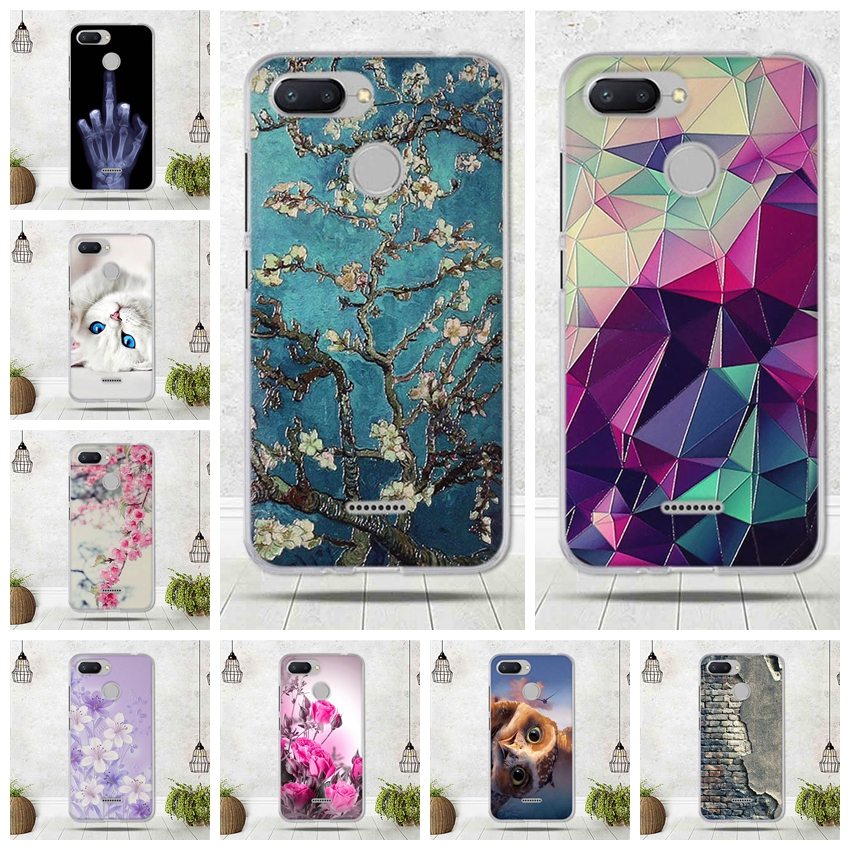 Phone Case For Xiaomi Redmi 6 Case Silicon Soft TPU Back Cover For Xiaomi Redmi 6 Cover Funda Cute Flower Patterned Capa 5.45
