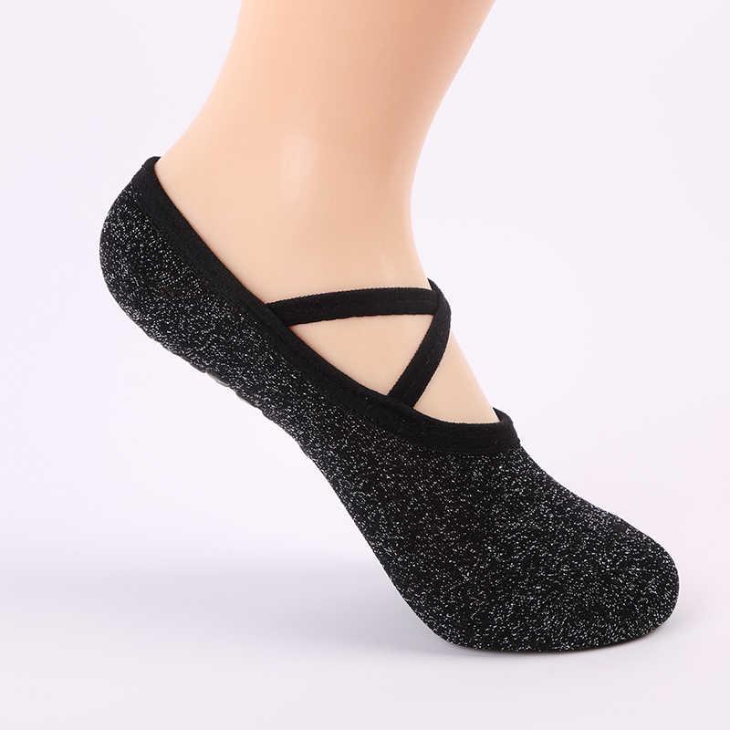 USHINE yeni stil siyah spor Yoga çorap kaymaz Yoga çorap Pilates dans çorap çocuklar kadınlar bale çorap Yoga socken