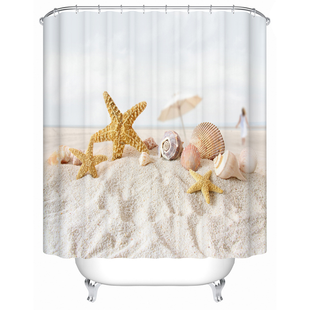 Starfish On The Beach Shower Curtains Bathroom Curtain Waterproof Fabric High Quality Products