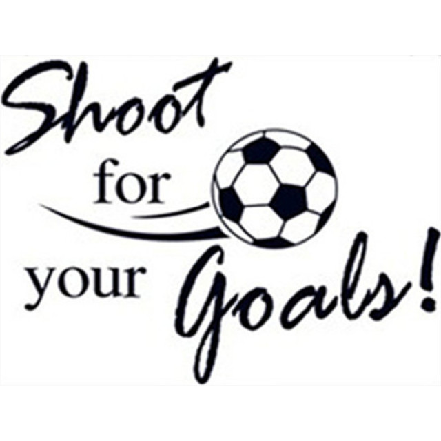 Soccer quotes wall decals Shoot For Your Goals 3d Football vinyl stickers kids rooms club ...