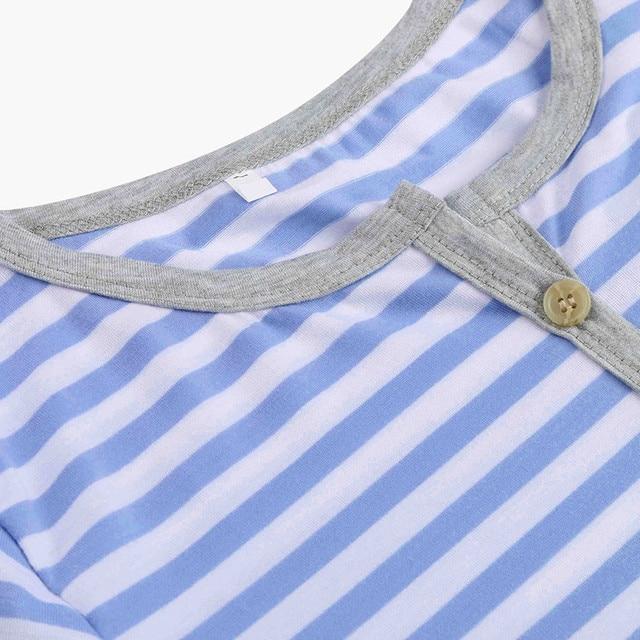 Women's Long Sleeve Button Nursing Nightie Stripes Maternity Breastfeeding Dress hamile gecelik maternity hot pajamas nightwear 5