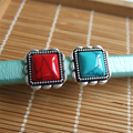 5pcs Antique  Silver Natural Red & Blue Turquoise Slide Spacer Charms For 10*6mm Licorice Leather