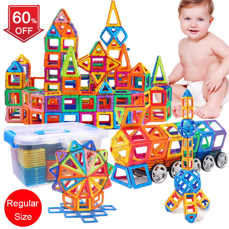 88pcs-138pcs Big Magnetic Designer Construction Set Model & Building Toy Plastic Magnetic Blocks Educational Toys For Kids Gift minitudou 88pcs kids toys educational magnetic blocks designer 3d diy models construction creative enlighten building toy gifts