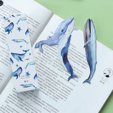 30 pcs box Creative whale shape cartoon paper bookmarks children stationery office school supplie papelaria kids