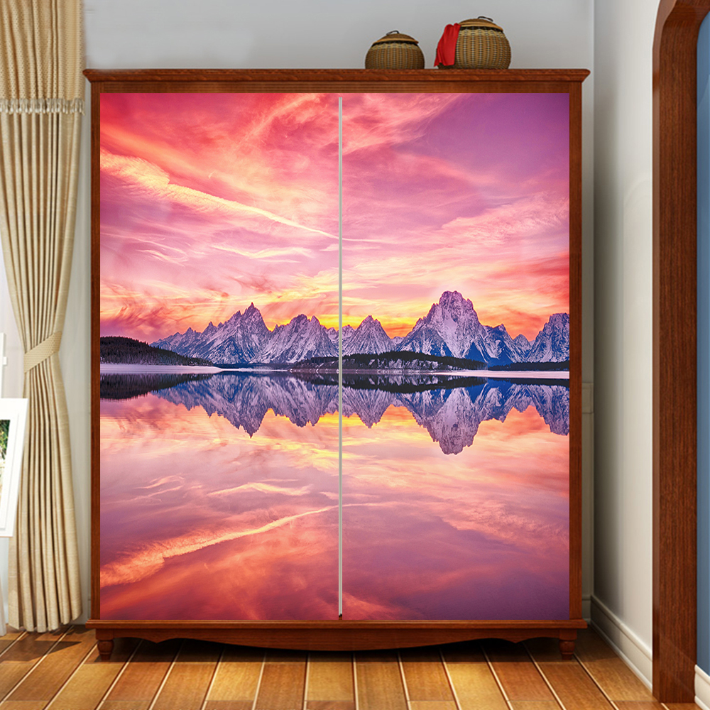 Compare prices on wardrobe sliding doors online shoppingbuy low yazi personalized size pvc background tv wallpaper window sliding door wardrobe sticker nature view wall sticker vtopaller Gallery