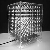 LEORY Acrylic Case For MP3 Music Spectrum DIY 3D Light Cube Kit 8x8x8 512LED DIY Electronic