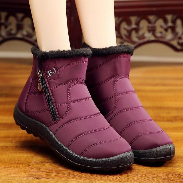 Winter women boots 2018 warm plush snow boots women shoes tube thick waterproof casual side zipper women ankle boots Plus size