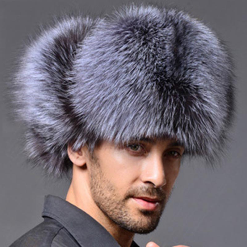 New Top Quality Mens Faux Fox Fur Leather Winter Hats Lei Feng Hat Ear Flaps Warm Snow Caps Russian Thicken Bomber Caps