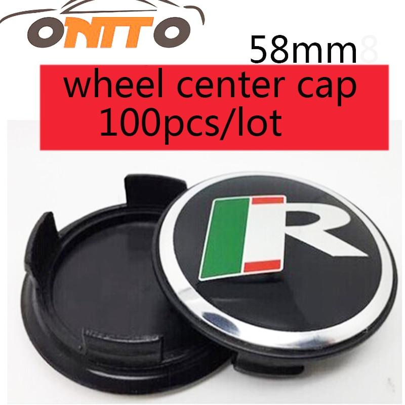 Best match 100 pcs 58MM R Sticker Wheel Center Caps R logo Emblem Badge Wheels Cover Hub Cap best price 1002 100 38 41 hand hydraulic carrier polyurethane wheel with aluminum center