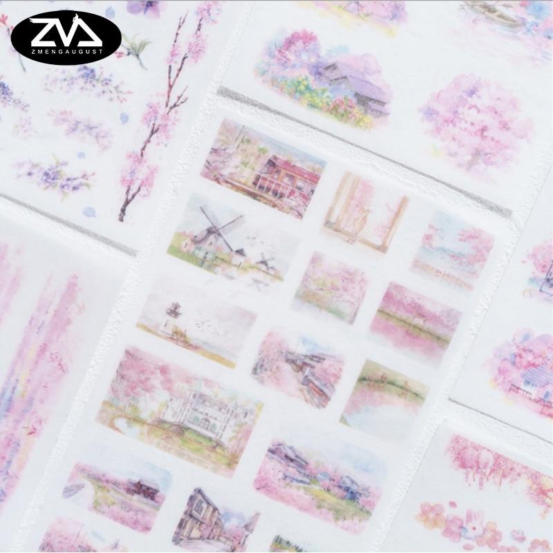 6X Romantic cherry blossom season decorations stickers DIY Manual stickers School office teaching stationery scrapbooking gift