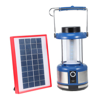 Hangable Solar AC Two Rechargeable LED Camping Lantern Two Lighting Modes Portable Lanterns With USB Phone Charging Port