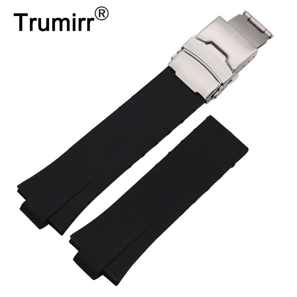 24 x 11mm Convex Silicone Rubber Watchband for Oris Aquis Men's Replacement Watch Band Steel Safety Clasp Strap Wrist Bracelet soft rubber watchband 26mm for executive 243 men replacement silicone watch band steel butterfly buckle wrist strap black blue