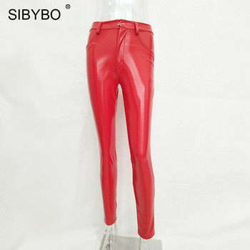 SIBYBO High Waist PU Leather Casual Pants Women Spring New Button Fly Skinny Pencil Pants Black Sexy Women Trousers Pants 6