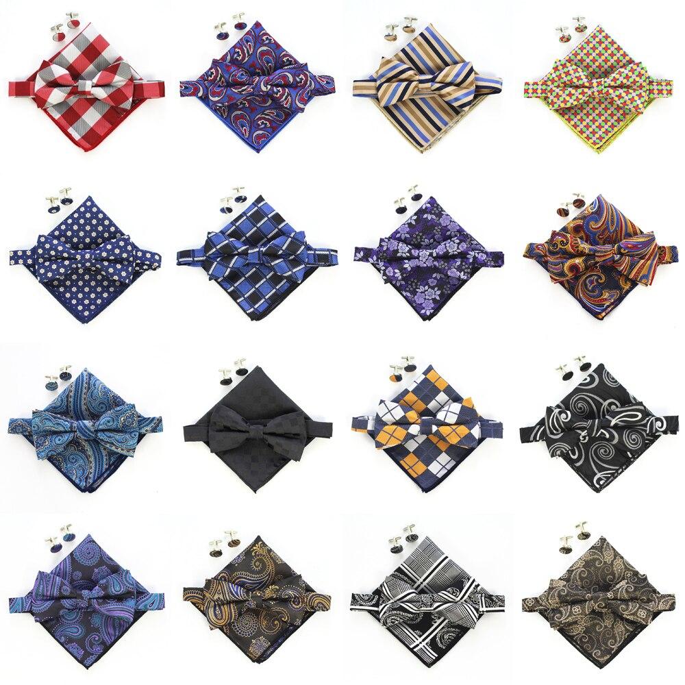 d6fa60cfffff GLBFC Hot Mens Bow ties Handkerchief Cuflinks Set Adjustable Man bows Tie  butterflies Squares Tuxedo Party