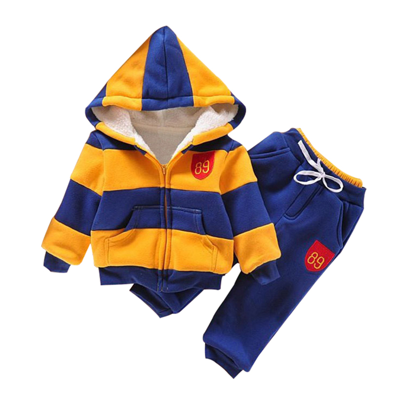 Baby Sports Suit Jacket Sweater Coat & Pants Thicken Kids Clothes Set Boys Girls Children Winter Wool Yellow Green 5 Size
