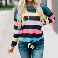 Long Sleeve Stripe Print T Shirt
