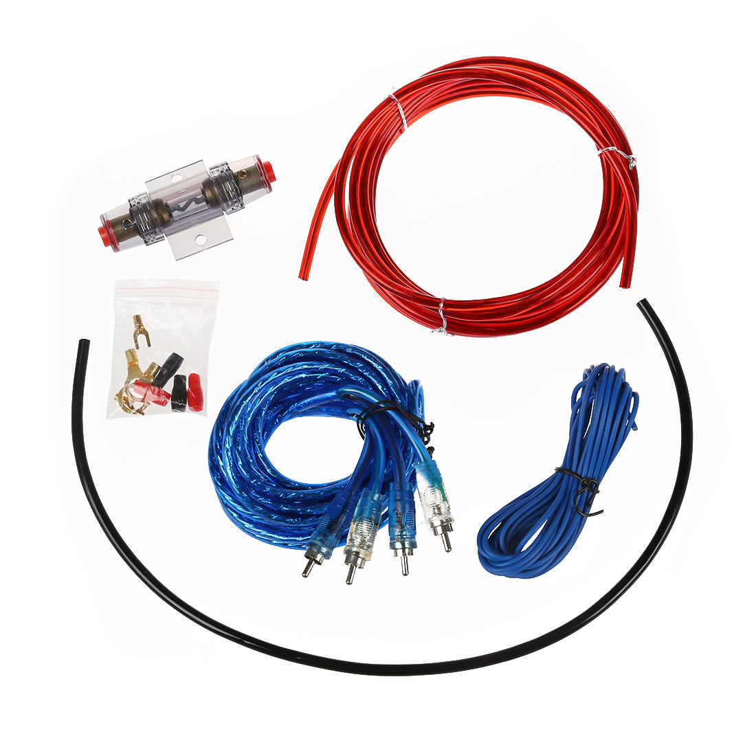 Top Deals 1500W Car Audio Wire Wiring Amplifier Subwoofer Speaker Installation Kit 8GA Power Cable 60