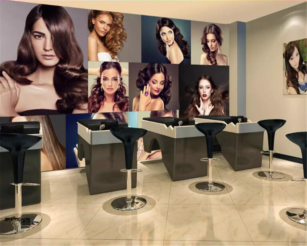 Beibehang Wallpaper For Walls 3 DCustomized Personality Fashion Glamour Creative Hair Salon Barber Shop Background Now Wallpaper