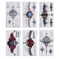 6PCS Sexy Chest Jewelry Tattoo BIG Size 240x138mm/9.45x5.43'' Body Art Tatoo Temporary Tattoo Exotic Sexy Tattoo Stickers