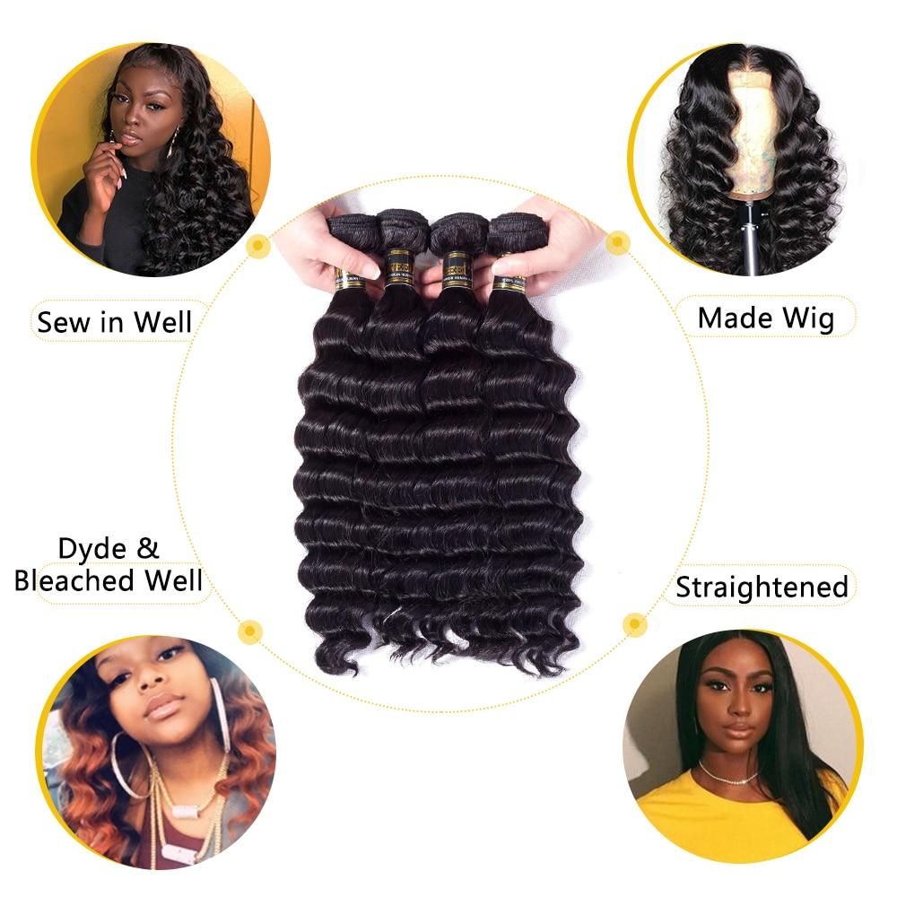 Uneed Hair Peruvian Loose Deep Wave Bundles With Closure 3/4Bundles With Closure Remy Human Hair Wea