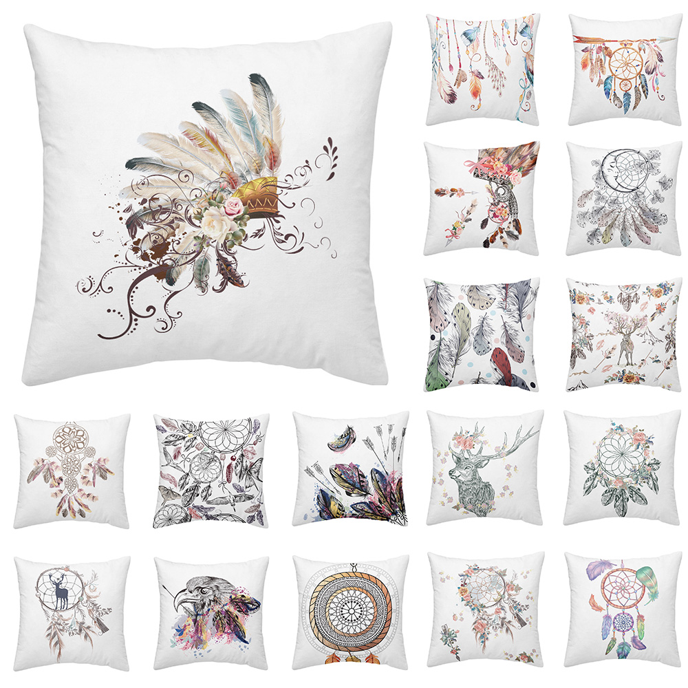 Bohemia Cushion Cover Dreamcatcher Series Pillow Colorful Feather Painting Throw Pillows Square Case Sofa Seat P15