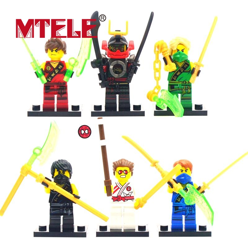 MTELE Brand 6 pcs Ninja Figure movie Super Hero Kid Baby Toy Building Blocks figure Brick For Kids Lepin Compatible with Lego mtele brand magnetic designer 68 89 pcs magnetic building in blocks brick toy education educational for toddlers baby kid toy