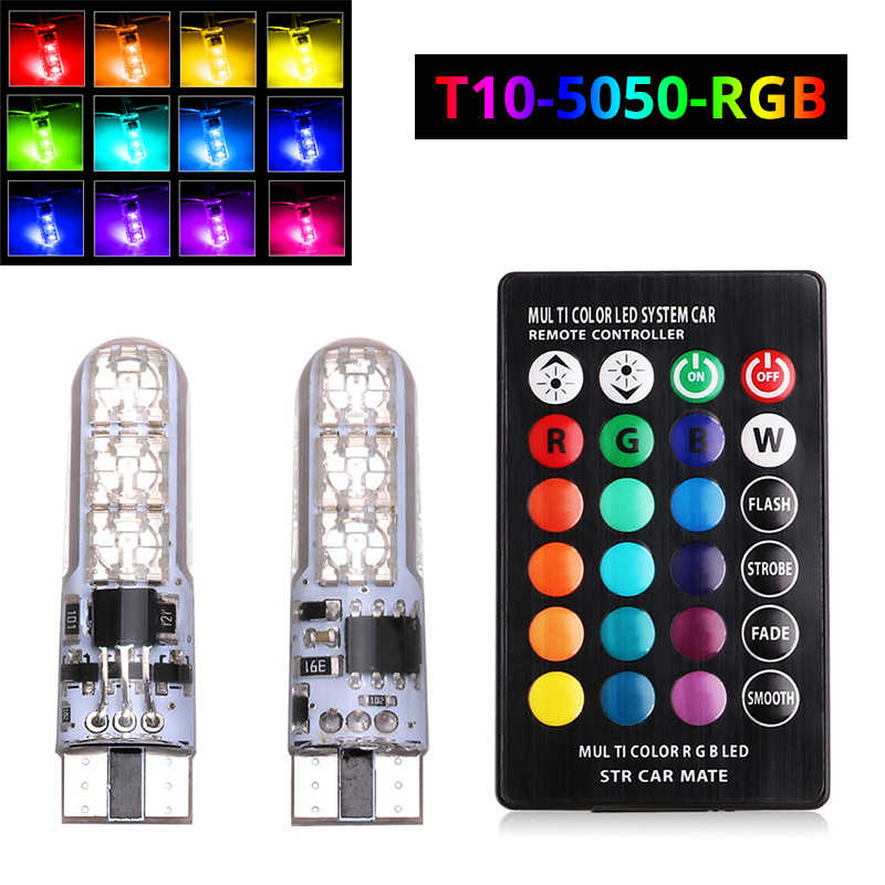 2x T10 W5W LED Car Lights LED Bulbs RGB 194 168 501 Strobe Led Lamp Reading Lights With Remote Control White Red Amber 12V