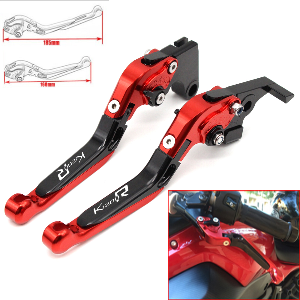 Motorcycle CNC Adjustable Foldable brake Clutch Levers for BMW K1200R 2005 -2008 with Logo (K1200R)