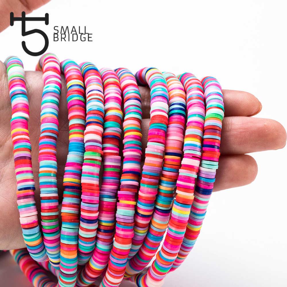 6mm Màu Hỗn Hợp Polymer Đất Sét Hạt cho Vòng Tay Làm Cho Bạn Gái Tự Làm Phụ Kiện Perles Rời Lát Pơ Mu Hạt Sholesale C801