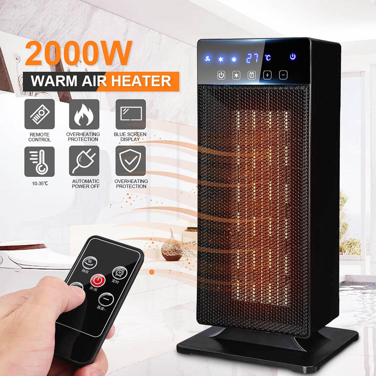 2000 W 220 V sans fil à distance ménage silencieux chauffage à Air chaud ventilateur plus chaud ventilateur US Plug réglable pour dortoirs bureaux maison
