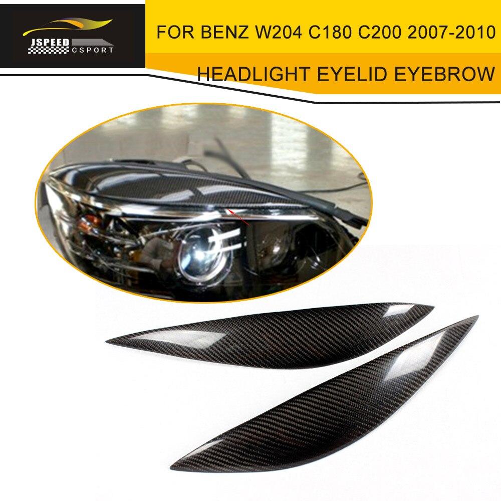Car Styling Carbon Fiber Headlight Eyelid Eyebrow For BENZ W204 C180 C200 2007-2010