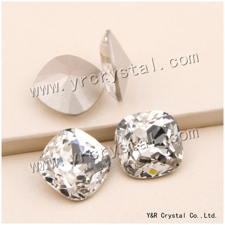 4470 Cushion Cut <font><b>Square</b></font> 8mm 10mm 12mm 18mm Glass Beads Clear Crystal Sewing Fancy Stones With Claw Settings