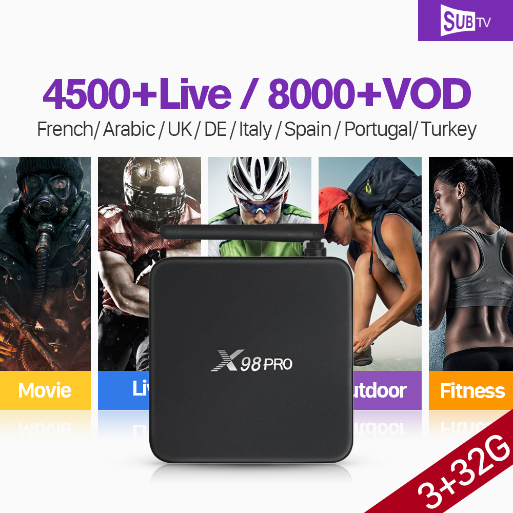 [Genuine] X98 PRO SUBTV Code French Arabic IPTV Box Amlogic S912 Octa Core 4K X98PRO Android 6.0 TV Box 3GB 32GB 2.4G/5GHz Wifi smart 4k x98 pro tv box android 6 0 2g 16g amlogic s912 subtv iptv subscription 8000 vod iptv europe french arabic iptv box