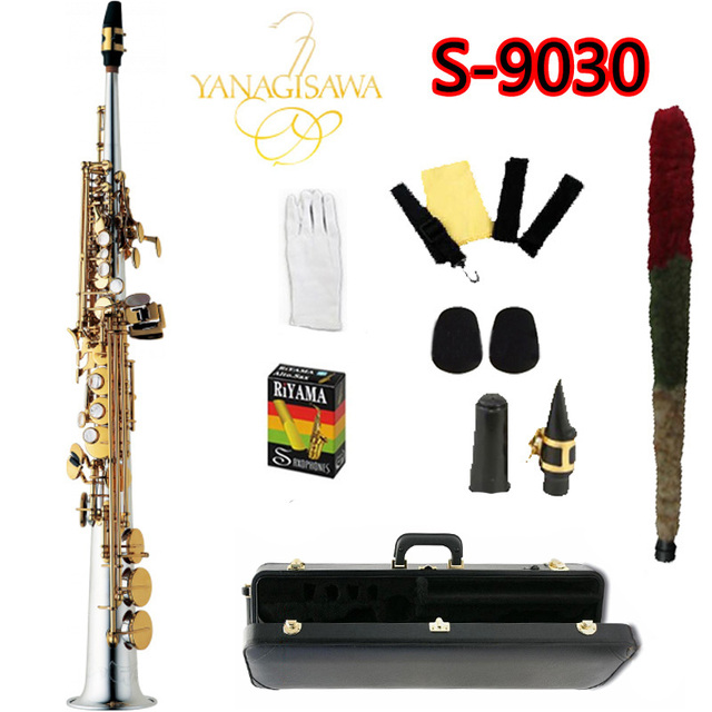 US $355 0 |YANAGISAWA S 9030 Straight Tube B(B) Tune Soprano Saxophone  Brand Silver Plated Body Gold Key Sax With Case Free Shipping-in Saxophone  from