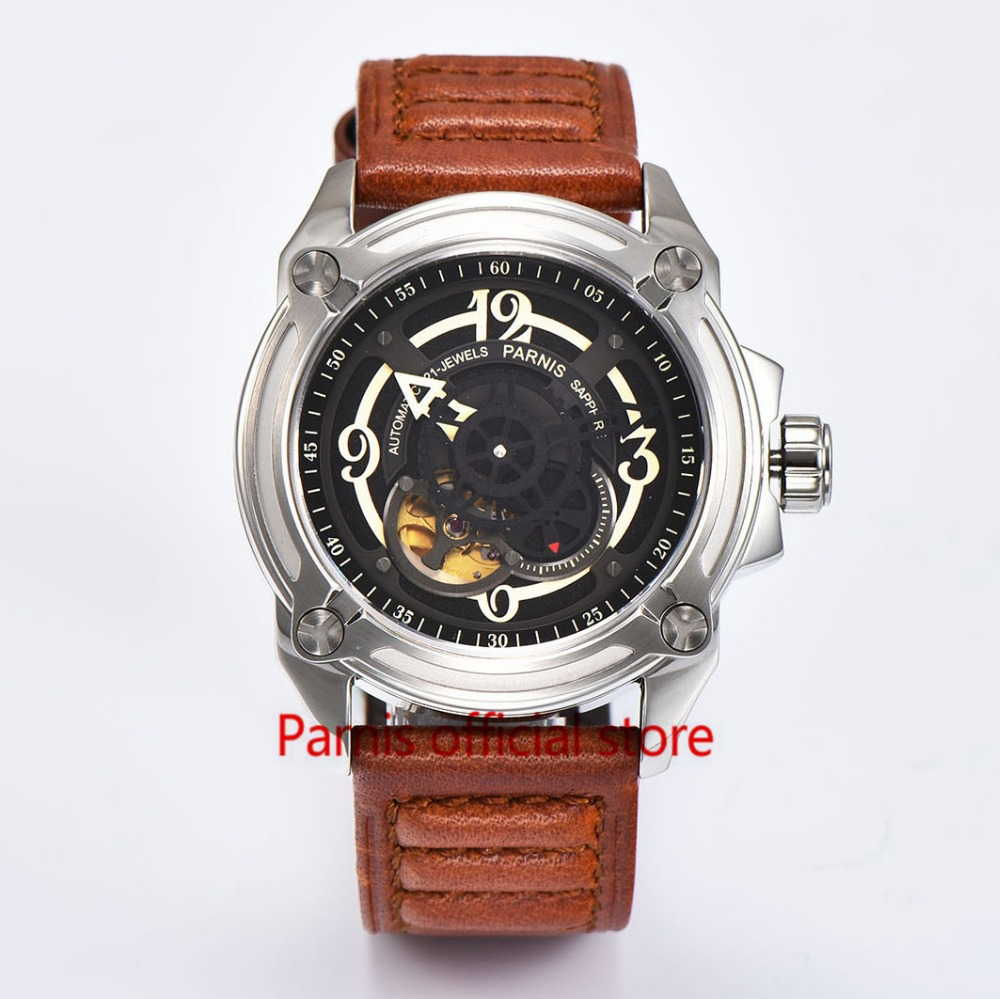 Hot Selling Men's  Automatic Watch 44mm Parnis Watch Skeleton Mechanical Wristwatch Black Dial Sapphire Crystal 5ATM Waterproof hot selling womens ss watch with tongston middle bead sapphire crystal ss buckle freeshipping ls3506s