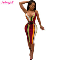 Adogirl Plus Size Colorful Striped Spaghetti Strap Summer Dresses Sexy Deep V Neck Grommet Lace Up