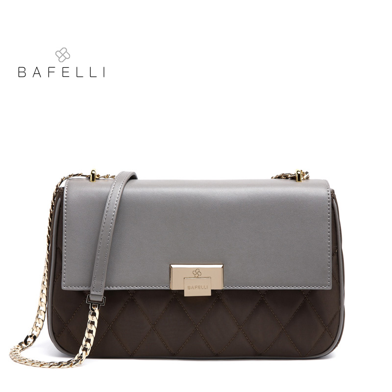 BAFELLI handbags split leather with nylon diamond lattice shoulder bag black gray patchowork bolsa feminina women messenger bags цены онлайн