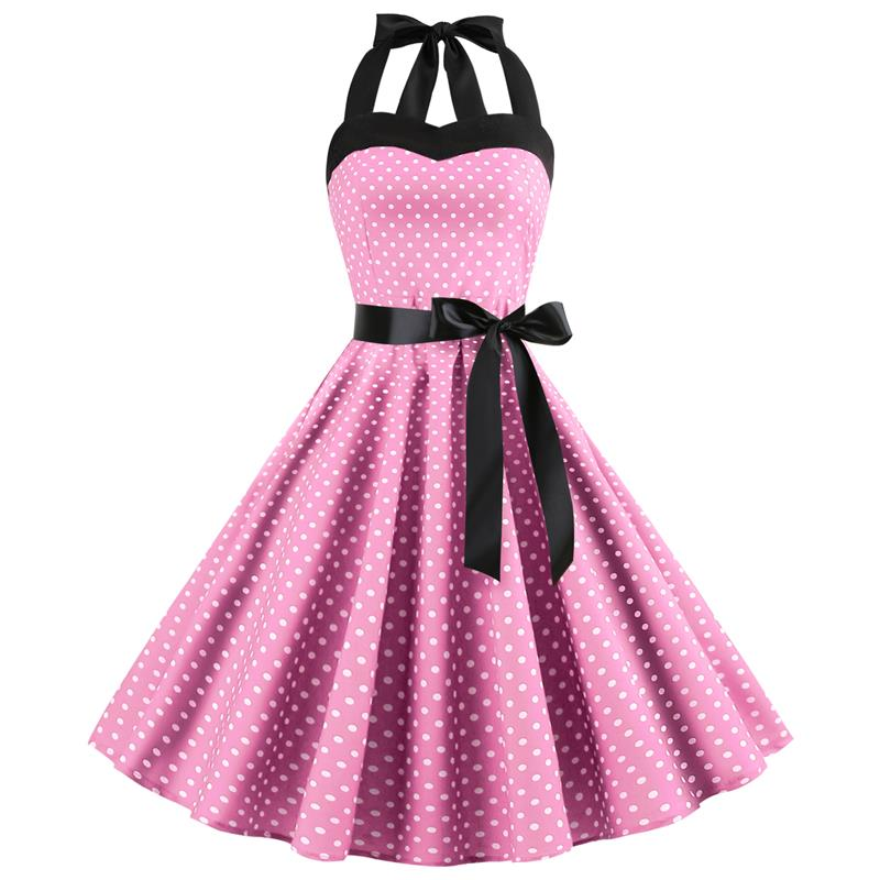 2019 New Audrey Hepburn Vintage <font><b>Halter</b></font> <font><b>Dress</b></font> <font><b>Sexy</b></font> Retro White Polka Dot <font><b>Dress</b></font> 50s 60s Gothic Pin Up Rockabilly <font><b>Dress</b></font> Plus Size image