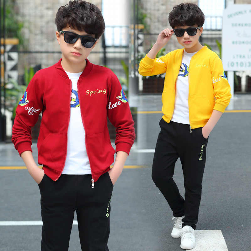 New Big Boys Coat+t Shirt+pant 3 Pc Sport Sets Children Clothes Sets Spring  and Autumn Leisure Three Pieces Blue Red Yellow 4 12 Clothing Sets  -  AliExpress