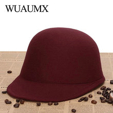 Wuaumx Vintage Winter Fedoras Hat For Female Equestrian Cap Parent Child Cap Lady Girls Homburg Cute Women #8217 s Fedora Children Hat cheap CN(Origin) Polyester Cotton Adult CG752 Casual Solid Black red Light tan blue rose red wine red Gray Fashion Elegant