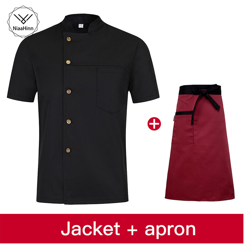 Summer Men And Women Single-breasted Breathable Chef Shirt Kitchen Uniform Waiter Overalls Hat+apron Chef Jackets Sushi Uniform