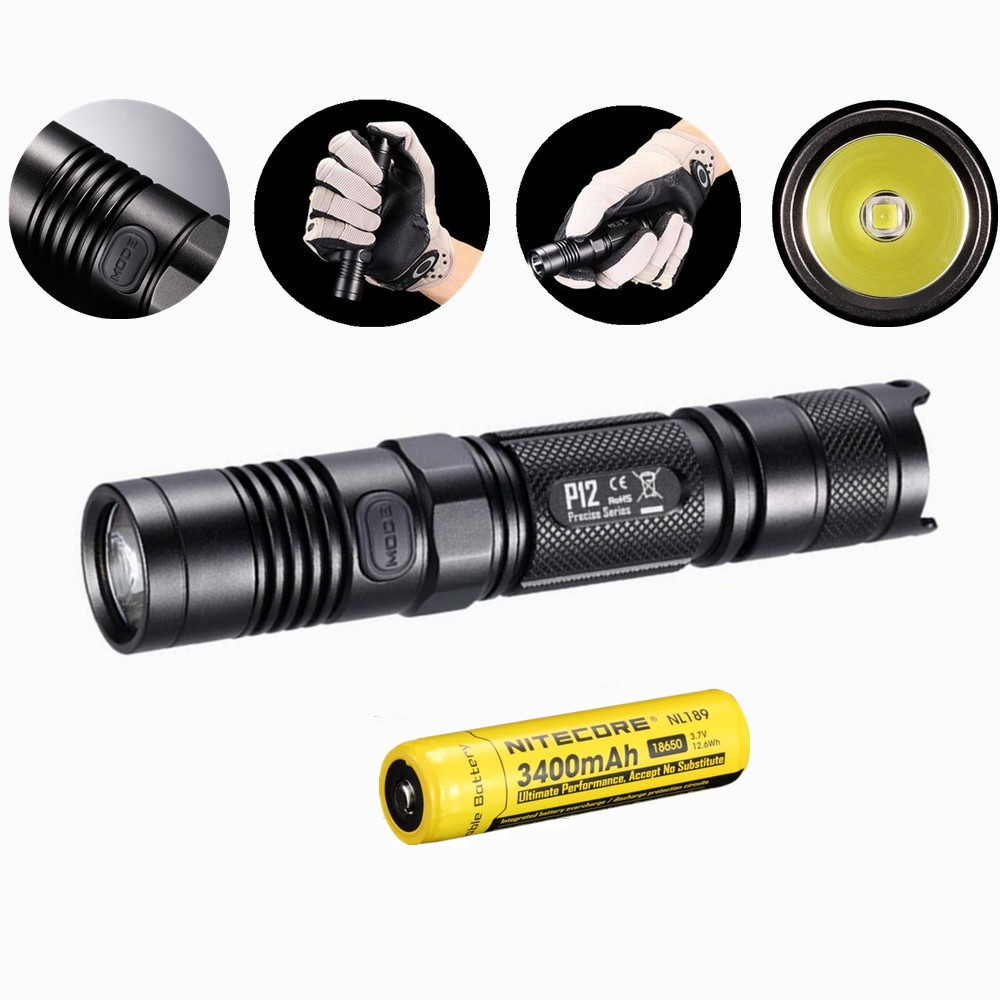 Nitecore P12 Tactical Flashlight with Nitecore NL189 18650 3400mah battery XM-L2 U2 Led 1000 Lumens Outdoor Camping Portable nitecore mt10c portable tactical flashlight cree xm l2 u2 led 920 lumens red light illumination waterproof with imr18350 battery