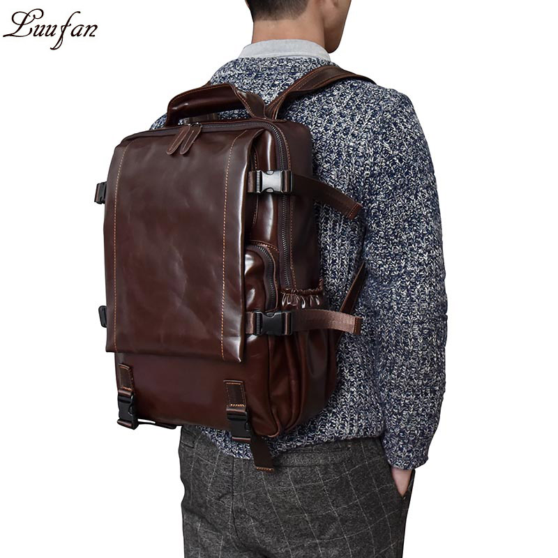 Men s crazy horse Leather backpack Multifunctional genuine leather 14 Laptop rucksack Cow Leather school bags
