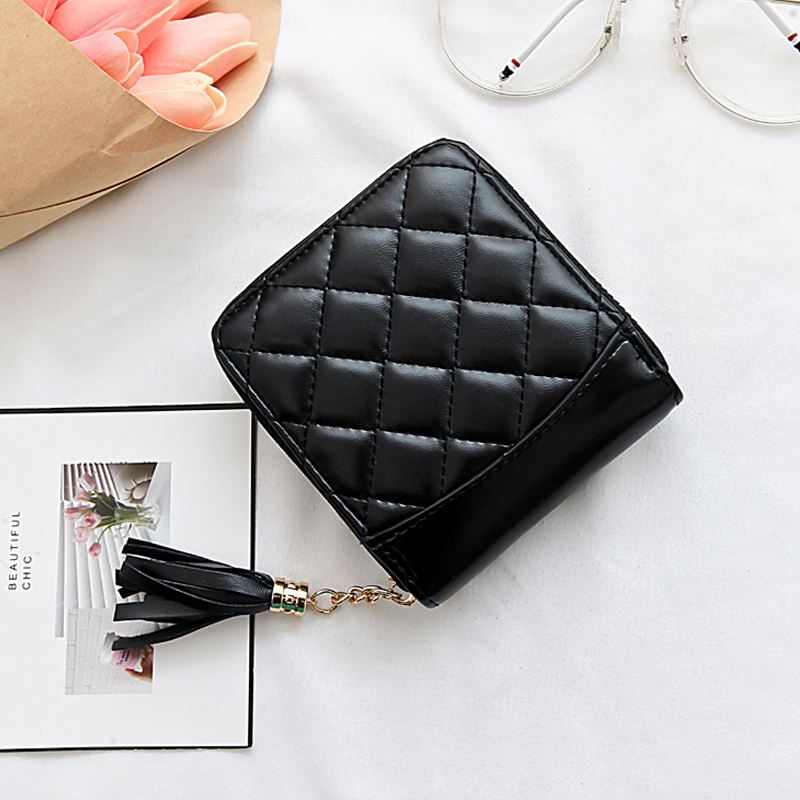 European and American Fashion Zipper Short Wallet 2018 new Quilted Simple Multi-Card Bit Card Package Wallet Tassel Small Change