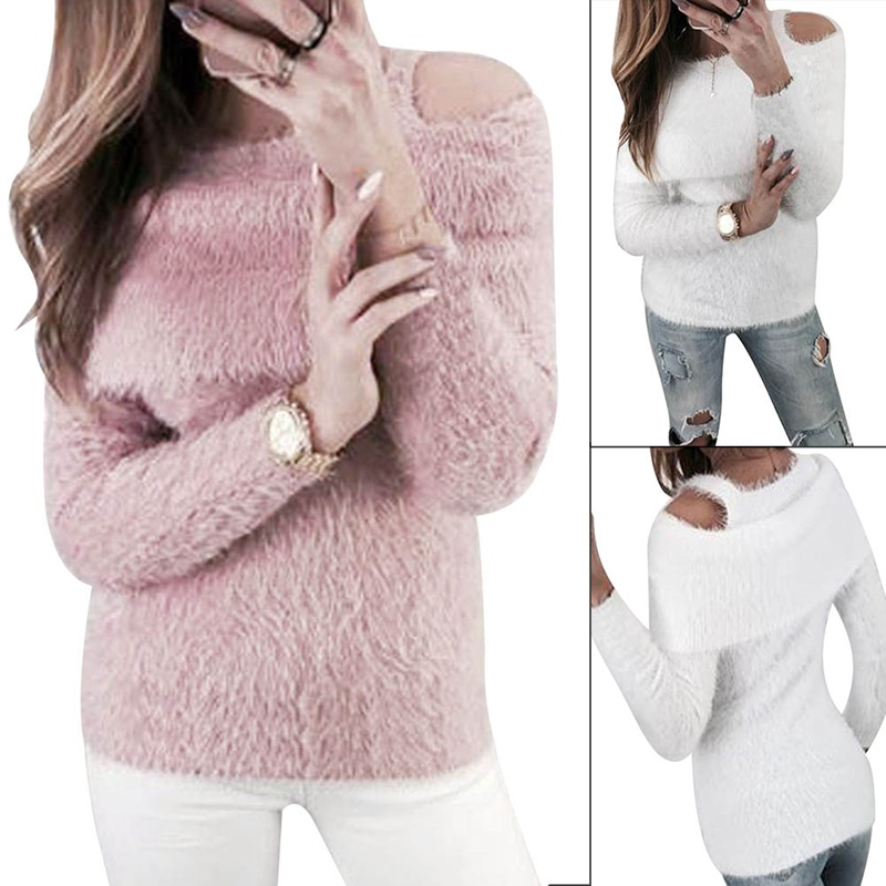 2018 Warm Hairy Knitted Sweater  Women Autumn Winter Plush Tops Pullover Basic Long Sleeve Crew Neck Sweater Top
