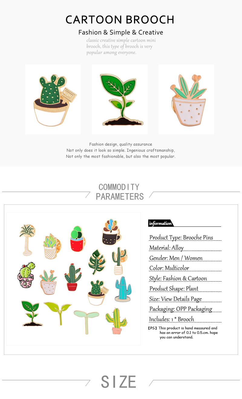 US $0 58 OFF Hot Fashion Enamel Pin Cartoon Cactus Flower Grass Plant Leaf Brooch Men Broche Jewelry Potted Brooches for women Pins Badge Bag in