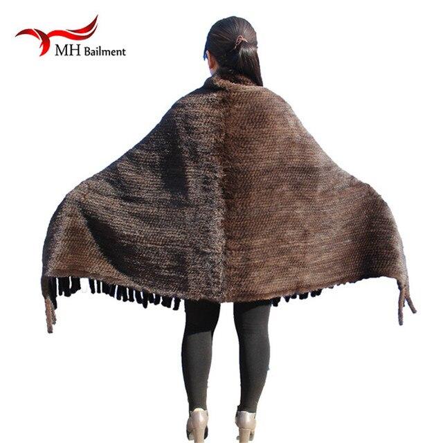 Elegant Real Knitted Mink Fur Shawl Scarf Womens Casual Poncho Knitted Mink Fur Black Scarves Scarf, Hat Glove Sets S#2 2